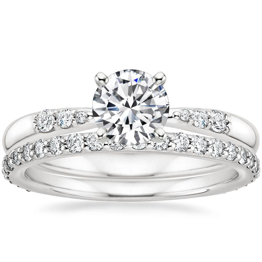 18K White Gold Lark Diamond Ring with Petite Shared Prong Eternity Diamond Ring (1/2 ct. tw.)