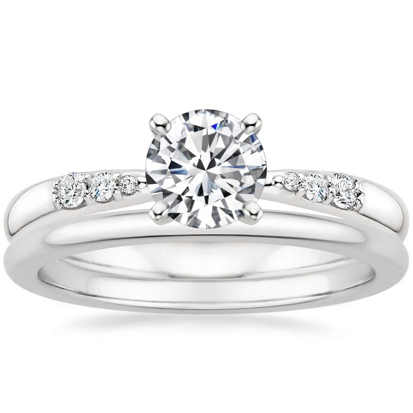 18K White Gold Lark Diamond Ring with Petite Comfort Fit Wedding Ring
