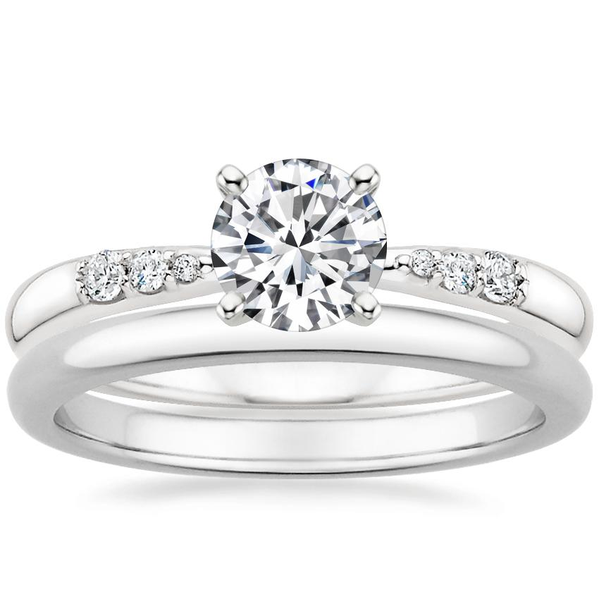 18K White Gold Lark Diamond Ring with 2mm Comfort Fit Wedding Ring