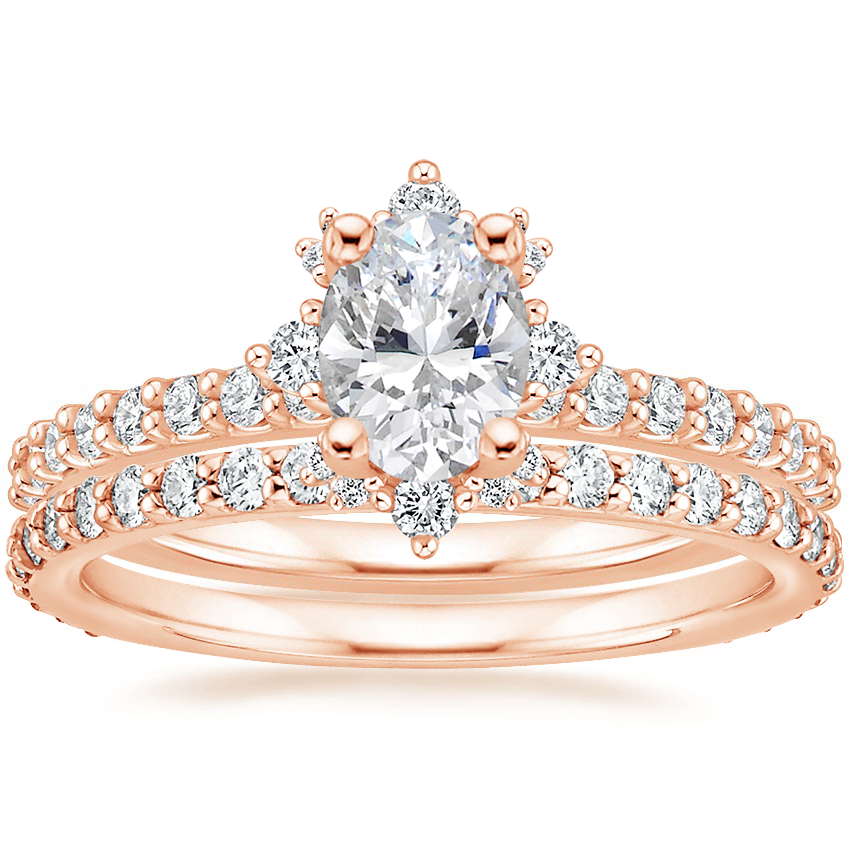 14K Rose Gold Arabella Diamond Ring (1/3 ct. tw.) with Luxe Petite Shared Prong Diamond Ring (3/8 ct. tw.)
