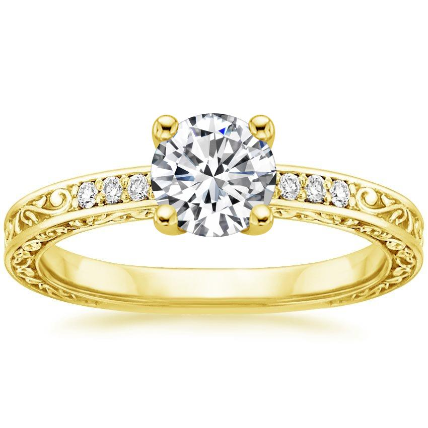 Round 18K Yellow Gold Delicate Antique Scroll Diamond Ring