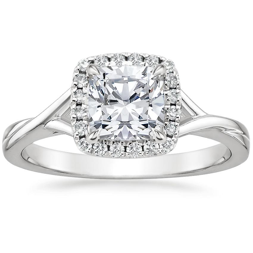 Cushion Scalloped Halo Engagement Ring
