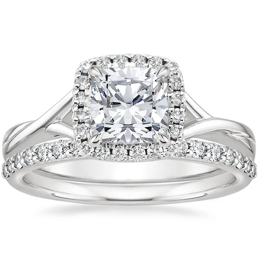 18K White Gold Serendipity Diamond Ring with Petite Shared Prong Diamond Ring (1/4 ct. tw.)