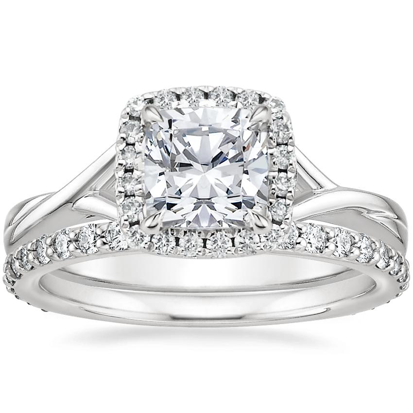 18K White Gold Serendipity Diamond Ring with Petite Shared Prong Eternity Diamond Ring (1/2 ct. tw.)