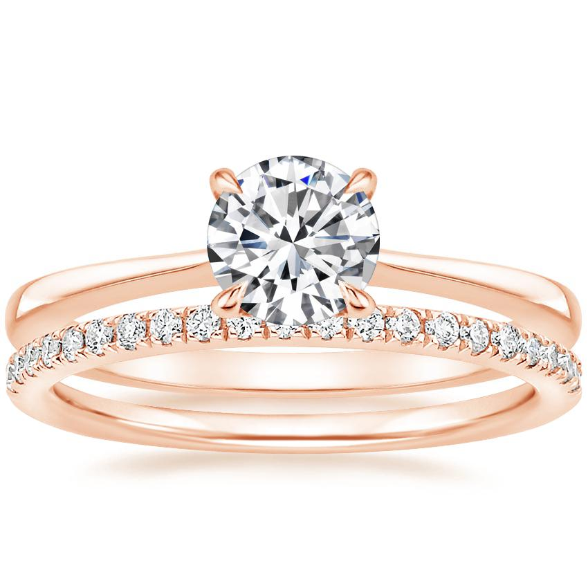 14K Rose Gold Elle Diamond Ring with Ballad Diamond Ring (1/6 ct. tw.)