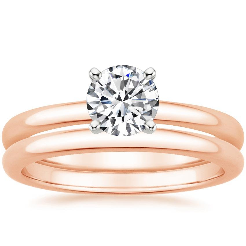 14K Rose Gold 2mm Comfort Fit Bridal Set