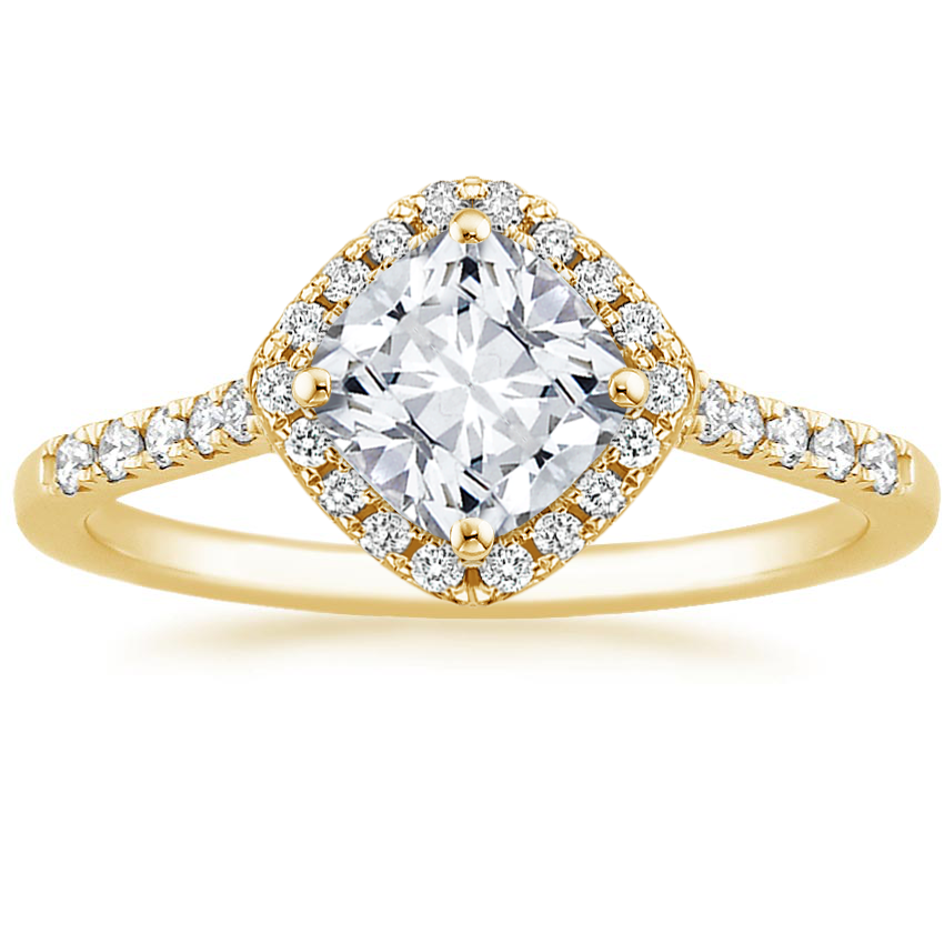 Cushion 18K Yellow Gold Cometa Diamond Ring