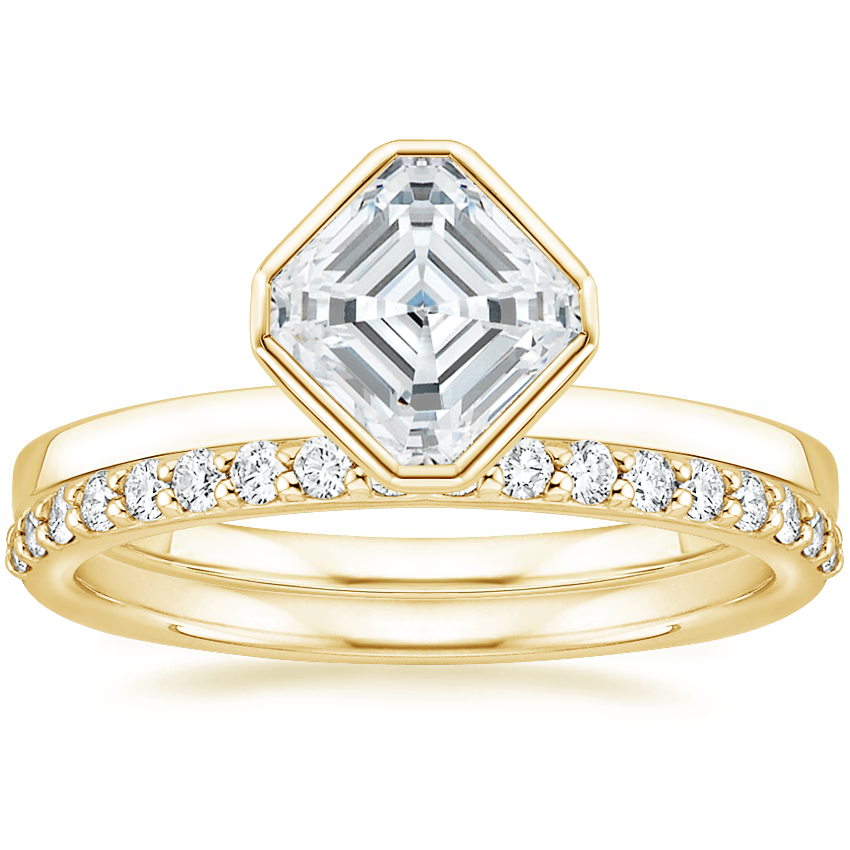 18K Yellow Gold Cielo Ring with Petite Shared Prong Diamond Ring (1/4 ct. tw.)