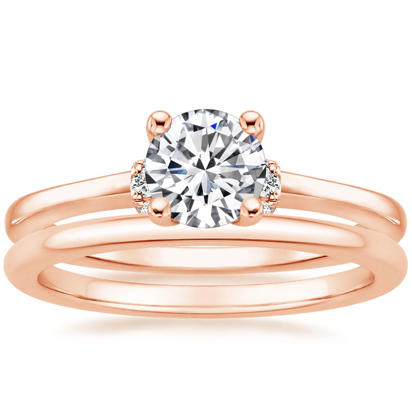14K Rose Gold Leighton Diamond Ring with Petite Comfort Fit Wedding Ring