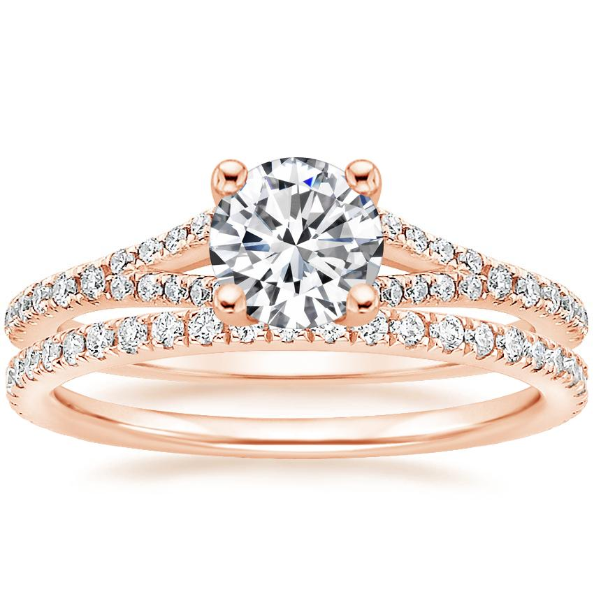 14K Rose Gold Flair Diamond Ring with Luxe Ballad Diamond Ring (1/4 ct. tw.)