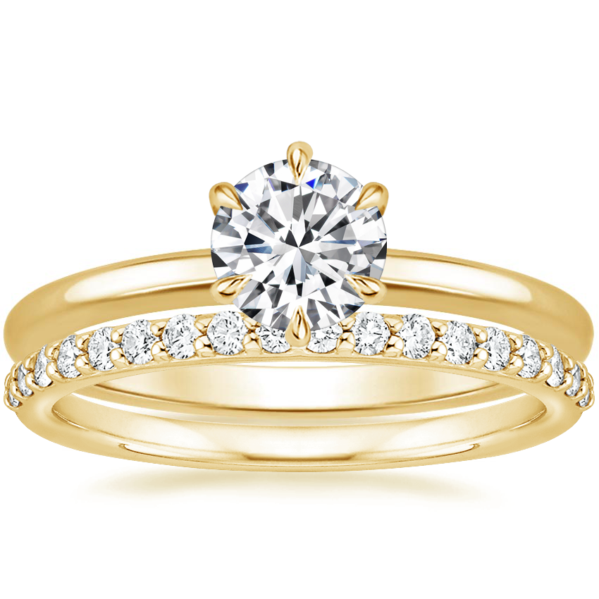 18K Yellow Gold Esme Ring with Petite Shared Prong Diamond Ring (1/4 ct. tw.)
