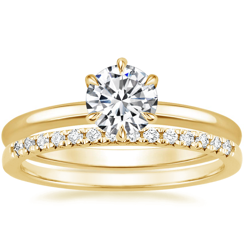 18K Yellow Gold Esme Ring with Sonora Diamond Ring (1/8 ct. tw.)
