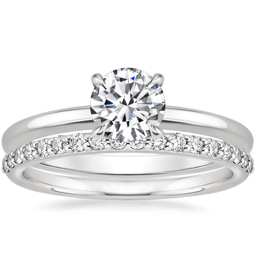 18K White Gold Elodie Ring with Petite Shared Prong Diamond Ring (1/4 ct. tw.)