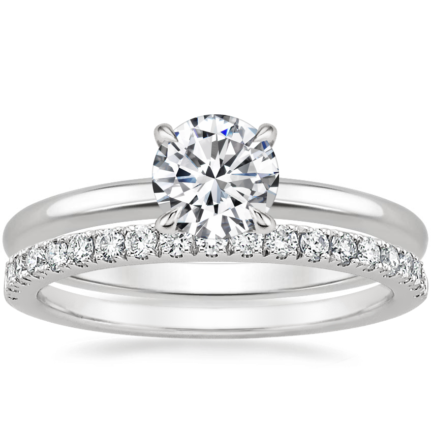 18K White Gold Elodie Ring with Bliss Diamond Ring (1/5 ct. tw.)