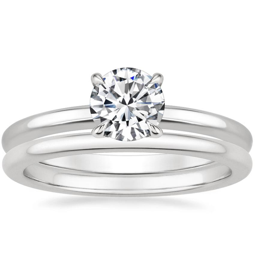 Platinum Elodie Ring with Petite Comfort Fit Wedding Ring