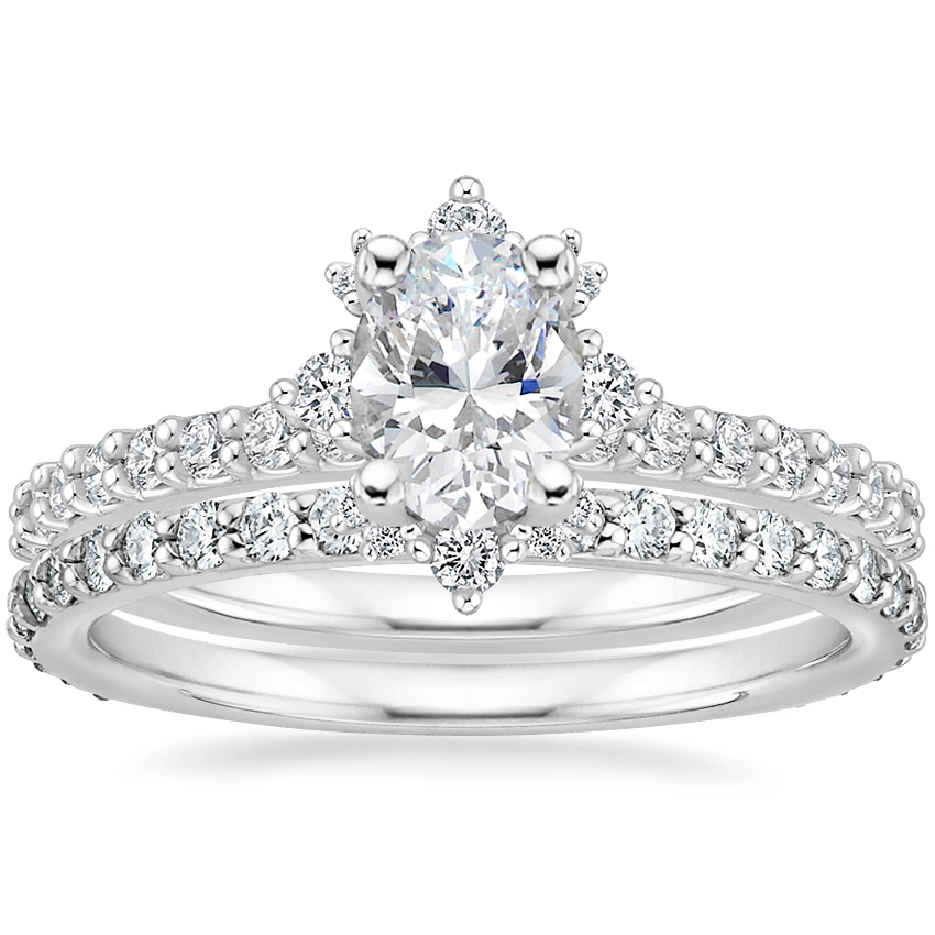 Platinum Arabella Diamond Ring (1/3 ct. tw.) with Luxe Petite Shared Prong Diamond Ring (3/8 ct. tw.)