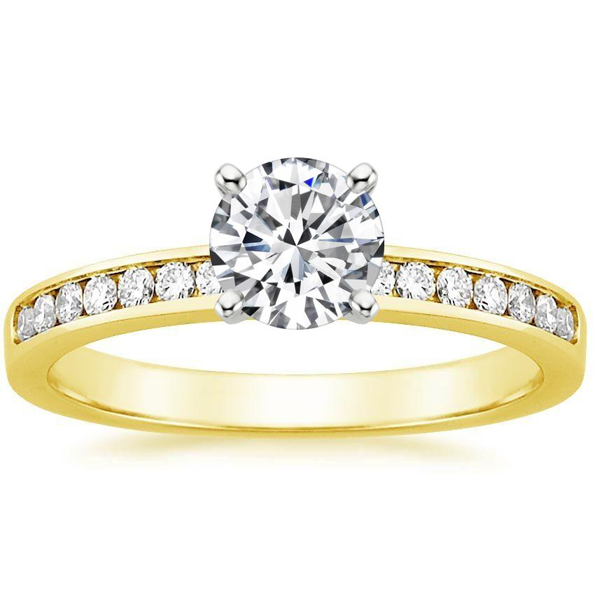 18K Yellow Gold Petite Channel Set Round Diamond Ring, top view