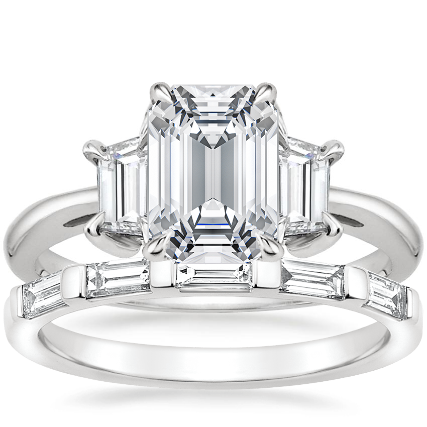 Platinum Embrace Diamond Ring with Lane Diamond Ring (1/3 ct. tw.)