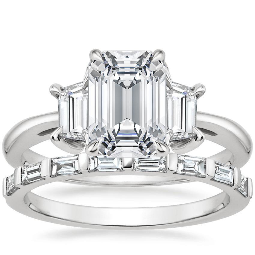 Platinum Embrace Diamond Ring (1/2 ct. tw.) with Barre Diamond Ring (1/4 ct. tw.)