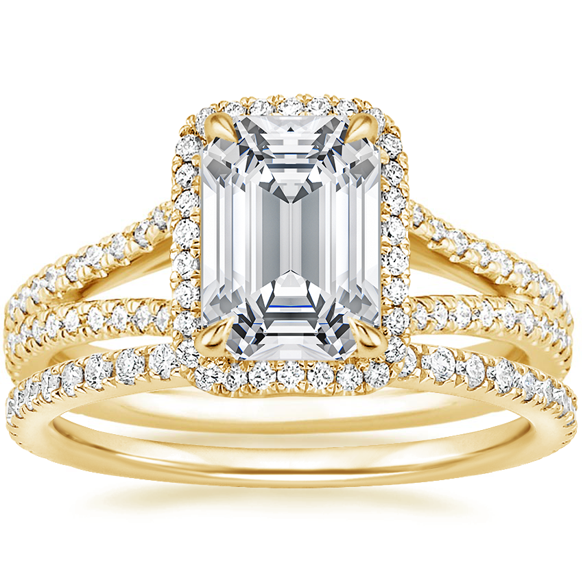 18K Yellow Gold Fortuna Diamond Ring (1/2 ct. tw.) with Luxe Ballad Diamond Ring (1/4 ct. tw.)