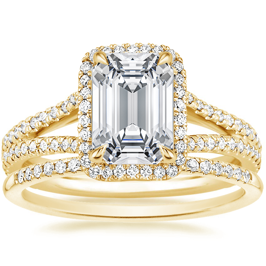 18K Yellow Gold Fortuna Diamond Ring (1/2 ct. tw.) with Whisper Diamond Ring (1/10 ct. tw.)