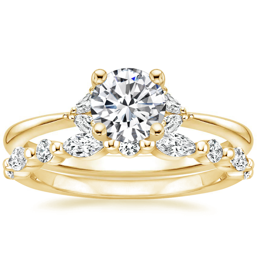 18K Yellow Gold Faye Diamond Ring with Versailles Diamond Ring (3/8 ct. tw.)