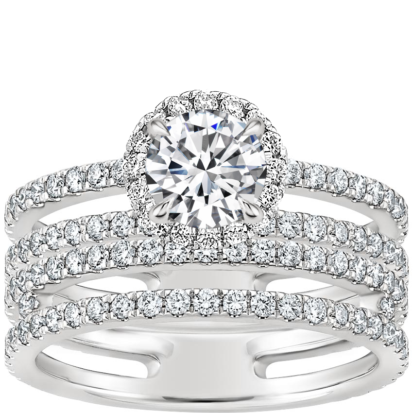 18K White Gold Linnia Halo Diamond Bridal Set