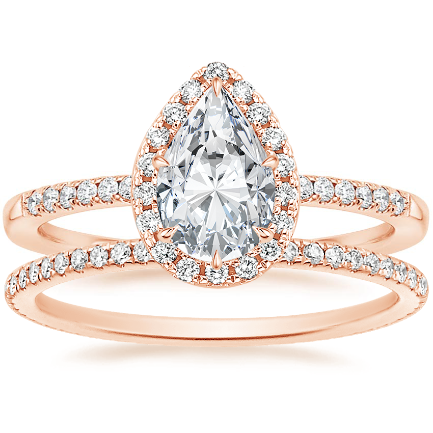 14K Rose Gold Cambria Diamond Ring with Whisper Eternity Diamond Ring (1/4 ct. tw.)