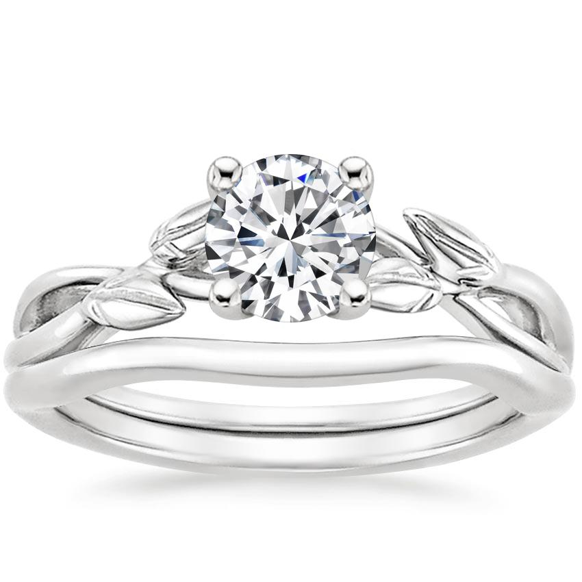 18K White Gold Budding Willow Bridal Set, top view