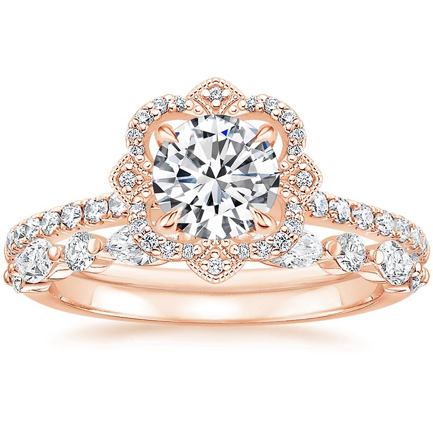 14K Rose Gold Reina Diamond Ring (1/6 ct. tw.) with Versailles Diamond Ring (3/8 ct. tw.)