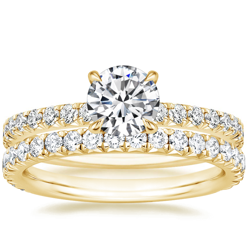 18K Yellow Gold Amelie Diamond Ring (1/3 ct. tw.) with Luxe Amelie Diamond Ring (1/2 ct. tw.)