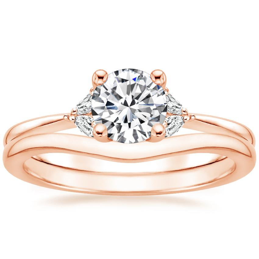 14K Rose Gold Faye Diamond Ring with Petite Curved Wedding Ring