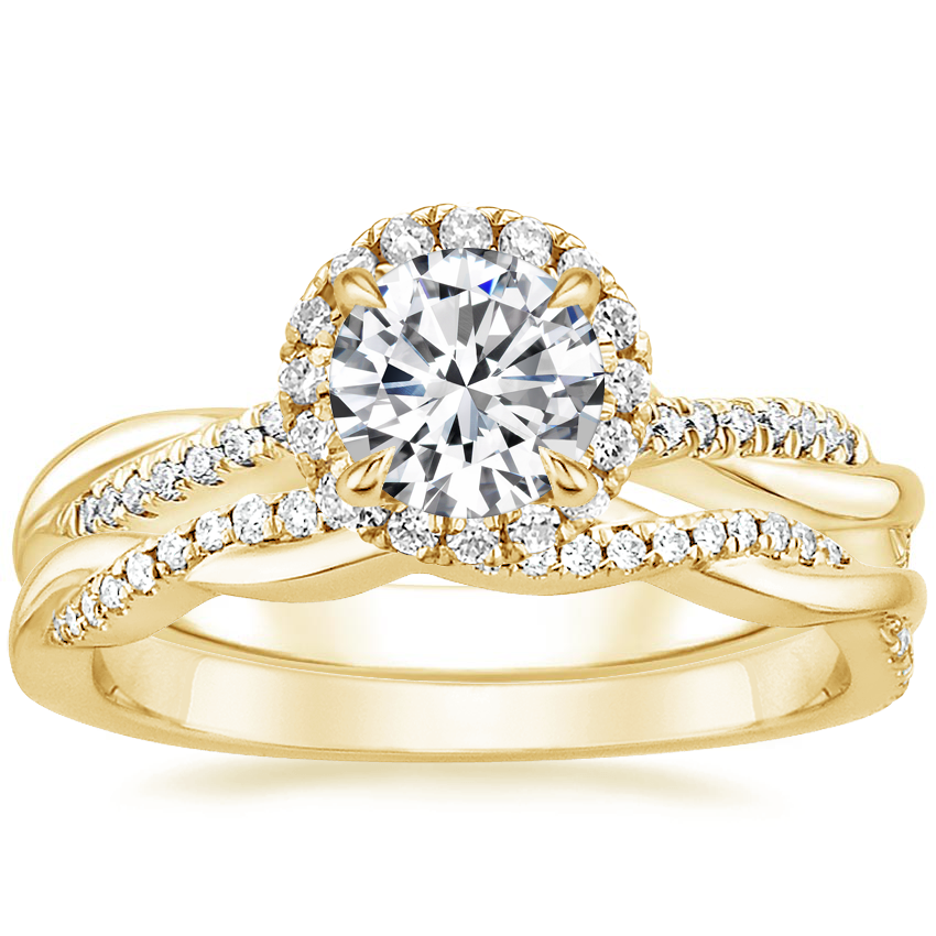 18K Yellow Gold Monroe Diamond Ring with Petite Twisted Vine Diamond Ring (1/8 ct. tw.)