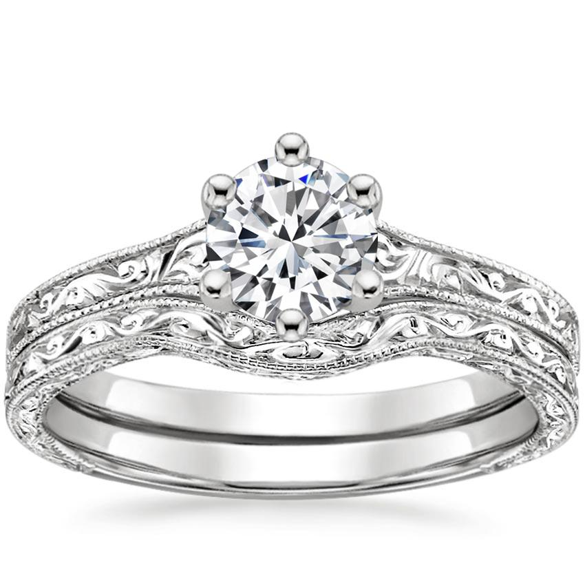 18K White Gold Contoured Hudson Bridal Set