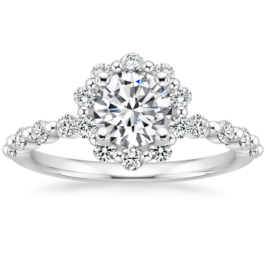 Round Shared Prong Halo Engagement Ring