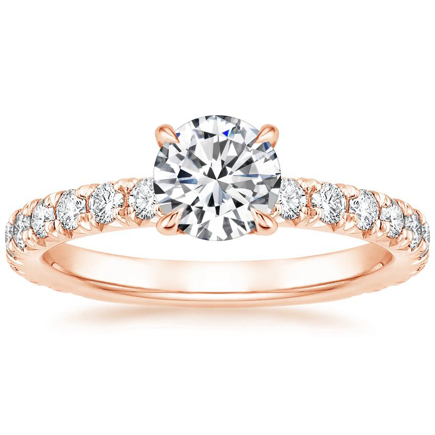 Round 14K Rose Gold Olympia Diamond Ring
