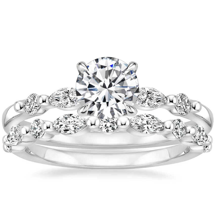 18K White Gold Petite Versailles Diamond Ring (1/6 ct. tw.) with Versailles Diamond Ring (3/8 ct. tw.)