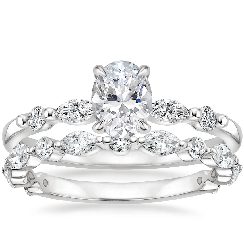 18K White Gold Petite Versailles Diamond Ring (1/6 ct. tw.) with Luxe Versailles Diamond Ring (1/2 ct. tw.)