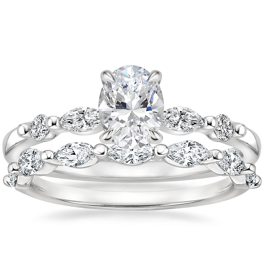 18K White Gold Petite Versailles Diamond Ring (1/6 ct. tw.) with Joelle Diamond Ring