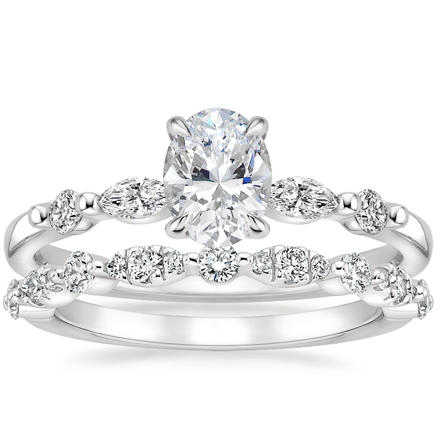 18K White Gold Petite Versailles Diamond Ring (1/6 ct. tw.) with Odette Diamond Ring (1/4 ct. tw.)