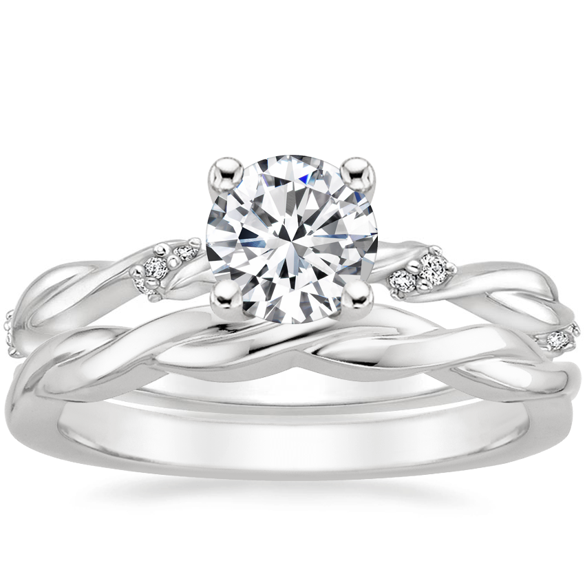18K White Gold Cleo Diamond Ring with Twisted Vine Ring