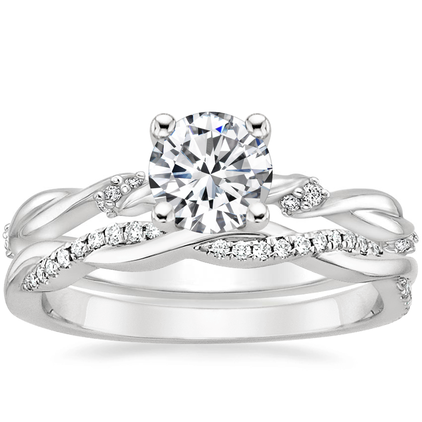 18K White Gold Cleo Diamond Ring with Petite Twisted Vine Diamond Ring (1/8 ct. tw.)