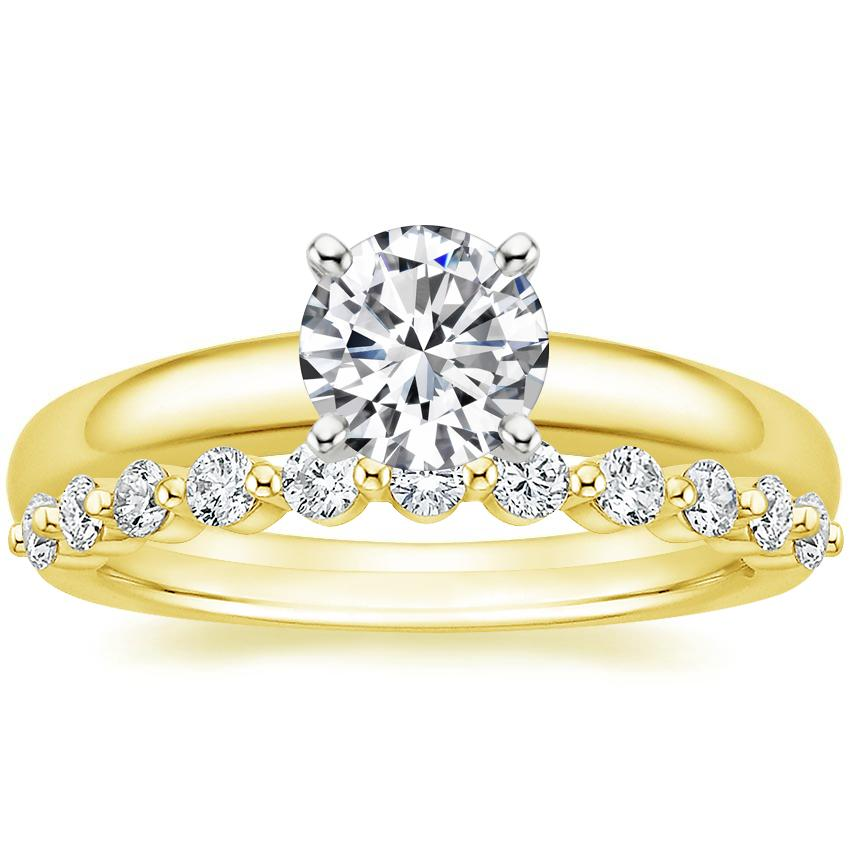 18K Yellow Gold 3mm Comfort Fit Ring with Marseille Diamond Ring (1/3 ct. tw.)