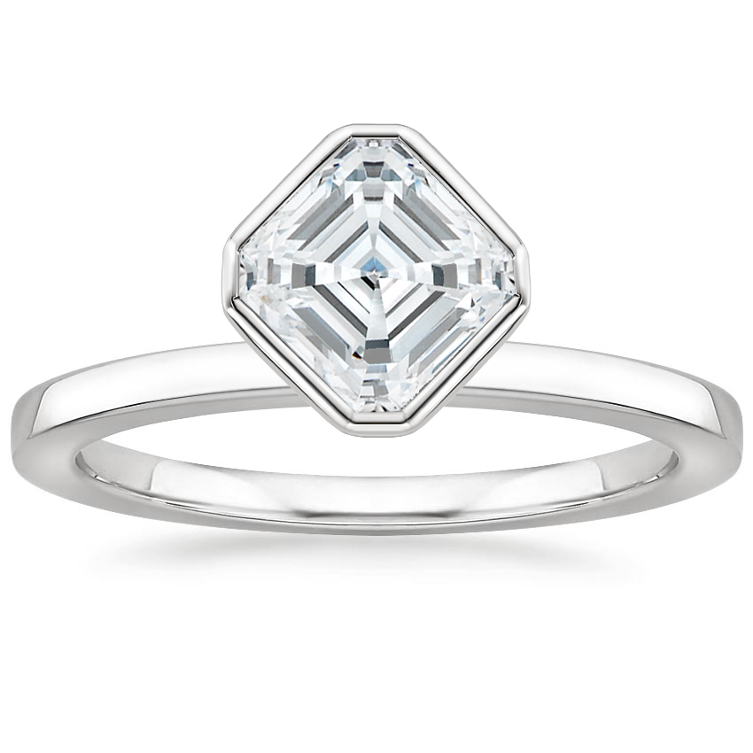 Asscher Floating Bezel Solitaire Ring