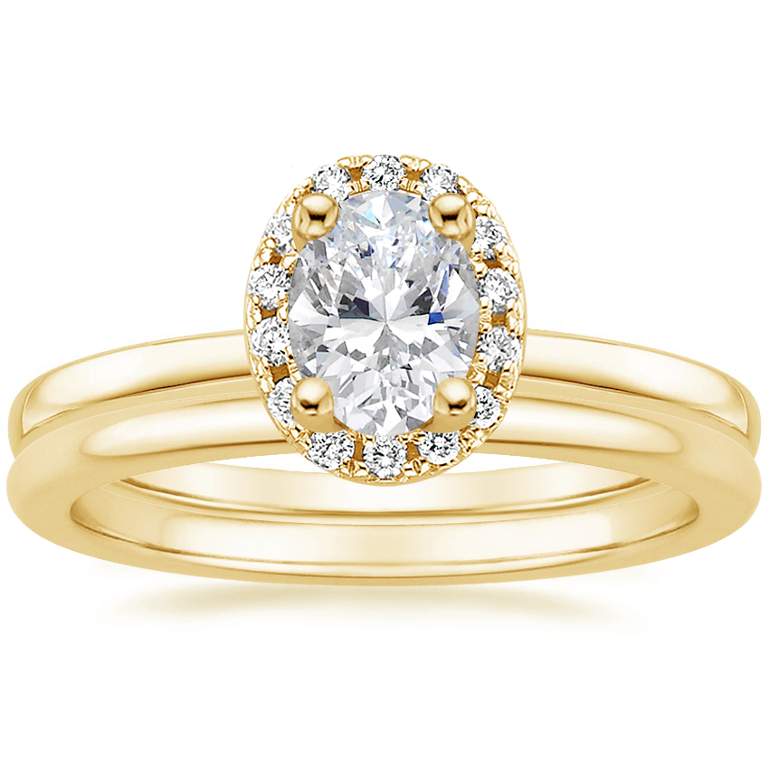 18K Yellow Gold French Halo Diamond Ring with Petite Comfort Fit Wedding Ring