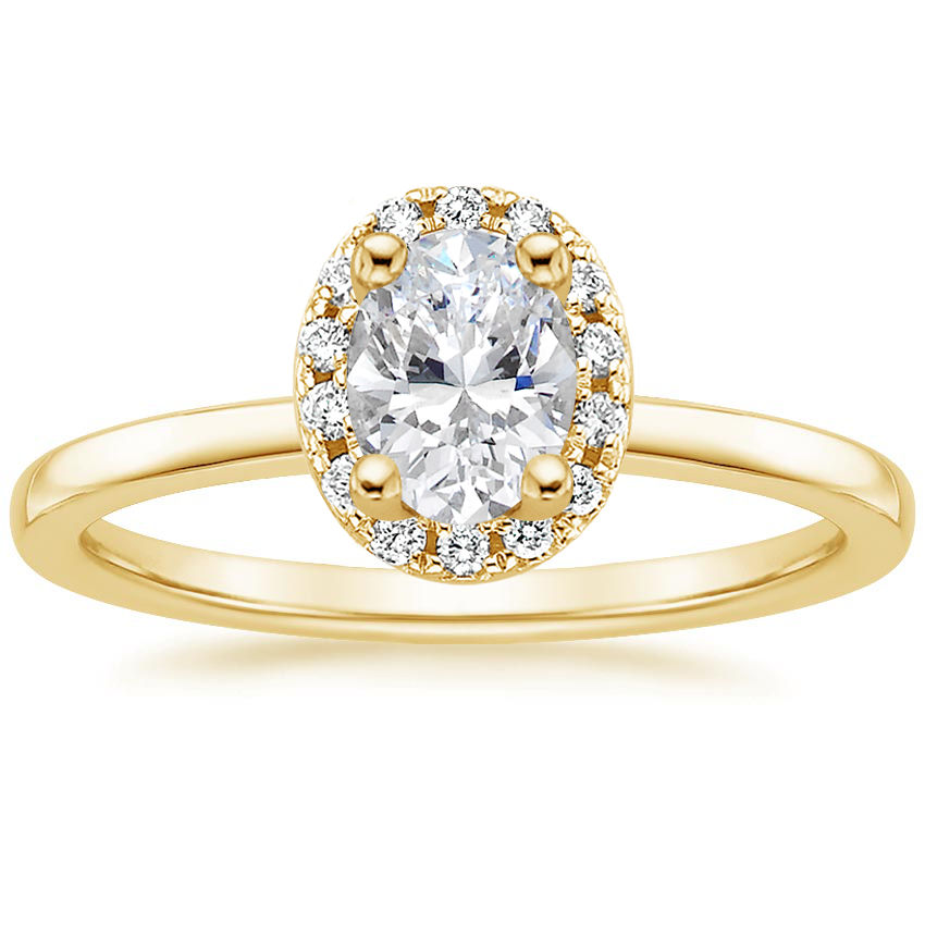 Oval 18K Yellow Gold French Halo Diamond Ring