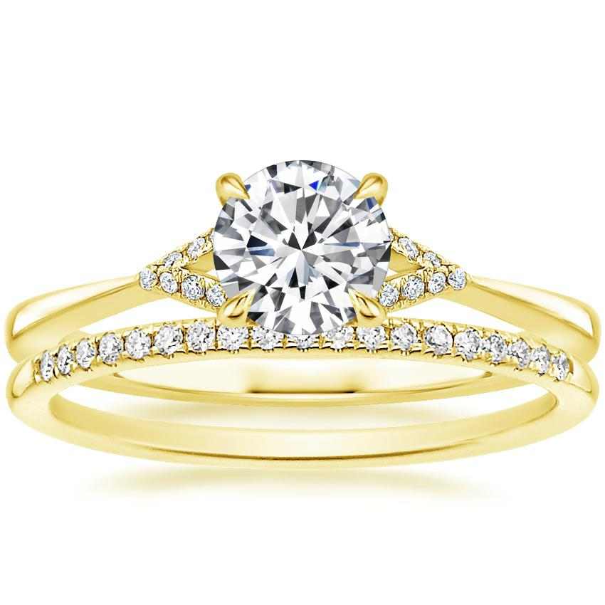 18K Yellow Gold Zoe Diamond Ring with Whisper Diamond Ring (1/10 ct. tw.)