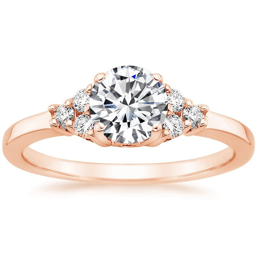 14K Rose Gold Trio Diamond Ring, top view