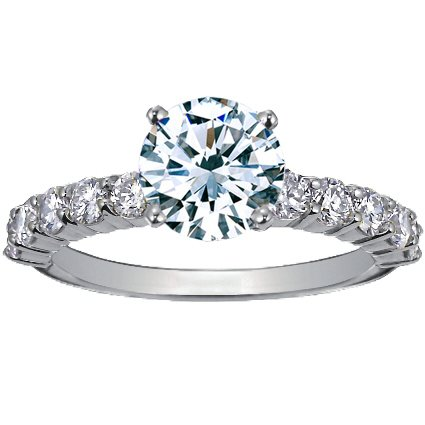 18K White Gold Luxe Shared Prong Diamond Ring (over 1/2 ct. tw.), top view