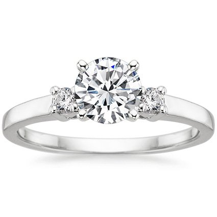 18K White Gold Sweetheart Diamond Ring, top view